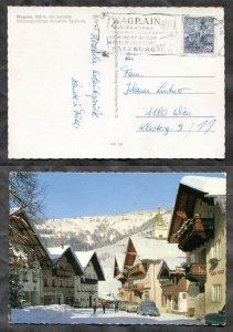 p339 - AUSTRIA Wagrain 1969 Slogan Cancel on Street View Postcard. VW Beetle