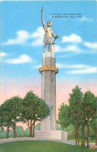Birmingham, Alabama Vulcan the Iron Man Statue Linen Postcard