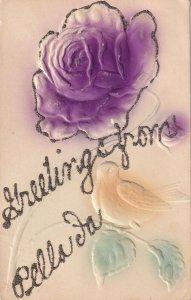 PELLA, Iowa, 1900-1910s; Purple Rose And Bird, Greetings