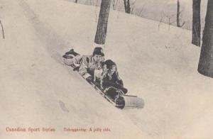 Canadian Sports Sport Series Tobogganing On Slopes Jolly Ride Postcard