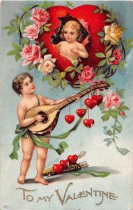 F4/ Valentine's Day Love Holiday Postcard c1910 Cupids Mandolin Hearts 20
