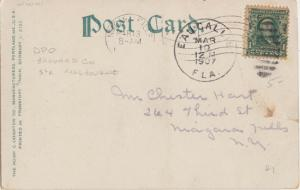 EAU GALLIE near MELBOURNE, FL - 1907 postal cancel on moonlight river scene