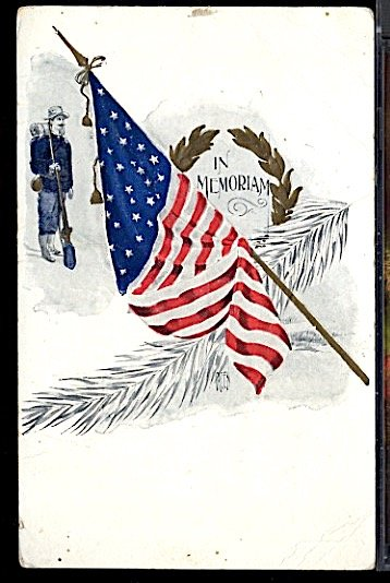 USA Patriotic With Flag In Memoriam Spanish American War Soldier CDS 1908