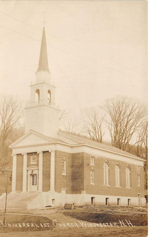 Winchester New Hampshire~Universalist Church~Note on Back~c1910 RPPC