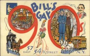 Linen Adv - Bill's Gay 90s - 57 East 54th New York City - Postcard