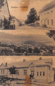 Komne Poland Multview School Building Antique Postcard J78828