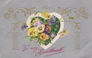 To my Sweetheart, Colorful Pansy Flowers, Heart frame, Silver background, 00-10s