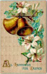 Vintage 1912 Embossed Greetings Postcard Gold Bells Lily Flowers All Happiness