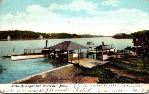 Massachusetts Worcester Lake Quinsigamond Boat Dock 1906