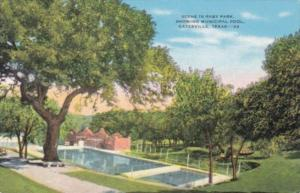 Texas Gatesville Scene In Raby Park Showing Municipal Pool