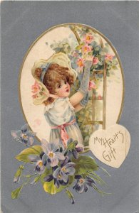 G26/ Valentine's Day Love Holiday Postcard c1910 Pretty Girl Flowers 9
