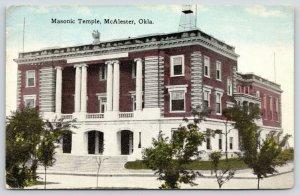 McAlester Oklahoma~Scottish Rite Masonic Temple~Consistory Lodge~1916 Postcard