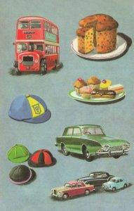 Green Cadillac Car London Bus Ladybird Childrens Book Painting Postcard