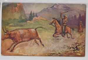 Roping a Steer / Cow by R. A. Davenport