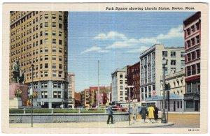 Boston, Mass, Park Square showing Lincoln Statue