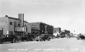 West Branch MI Clark Gable @ Art Deco Midland Theatre~McGowan Hardware~RPPC 1937