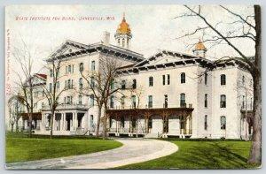 Janesville Wisconsin~State Institution for Blind~Victorian Porches~1910 Postcard