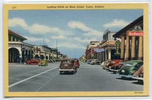 Main Street Looking North Cars Yuma Arizona linen postcard