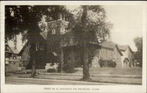Melrose MA First ME Church c1920 Real Photo Postcard