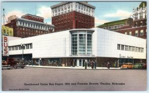 OMAHA, Nebraska  NE    GREYHOUND BUS DEPOT  Street Scene  c1940s Linen  Postcard