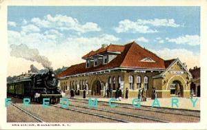 1915 Middletown NY PC: Erie RR Depot, Train & Passengers