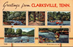 Tennessee Greetings From Clarksville With Fishing and Canoeing Scene 1944 Cur...