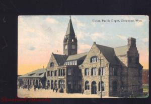 CHEYENNE WYOMING UNION PACIFIC RAILROAD DEPOT TRAIN STATION POSTCARD