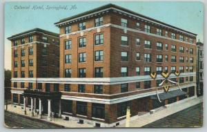 Springfield Missouri~Colonial Hotel~Patriotic Bunting at Side Door~1912 Postcard