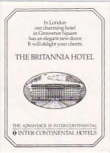 ENGLAND LONDON BRITANNIA HOTEL VINTAGE LUGGAGE LABEL