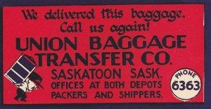 Label: Union Baggage Co. , SASKATOON , Saskatchewan , Canada , 00-10s