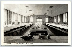 San Miguel CA~Camp Roberts Mess Hall Waits For Soldiers~1940s~WWII-Era B&W