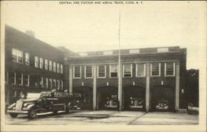 Ilion NY Central Fire Station Aerial truck Postcard
