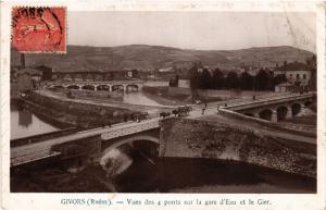 CPA GIVORS vue des 4 ponts sur la Gare d'eau et le Gier (462377)