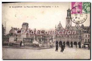 Old Postcard St Quentin Place de l'Hotel de Ville after