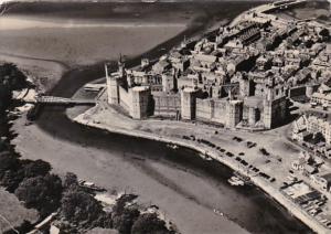 Wales Caernarvon Castle Aerial View 1957