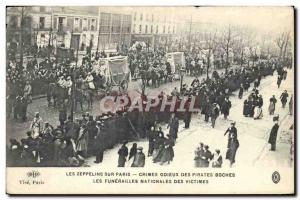 Old Postcard zeppelins on Paris National Funeral victims