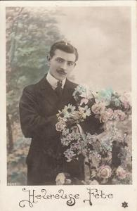 Elegant young man with mustache flowers early greetings postcard France