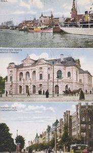 Riga , Latvia , PU-1928 : 3 view postcard
