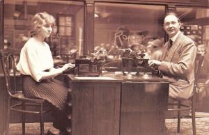Nostalgia Postcard 1921 Speed Typing Duel on Roneos Type Writers, Repro NS18