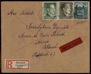 3rd Reich Polish SS Ordnungspolizei Galiziener Volunteer Registered Expres 65589