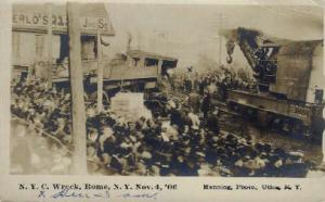 Real Photo N.Y.C. Wreck, Rome, New York, NY, USA Railroad Train Depot Postcar...
