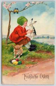 Easter~Girl Plays With Bunnies Under Blossom Tree~Colored Eggs~Birds~1916 ERIKA