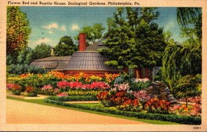 Pennsylvania Philadelphia Zoological Gardens Flower Bed and Reptile House 1940