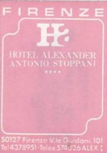 ITALY FIRENZE HOTEL ALEXANDER ANTONIO STOPPANI VINTAGE LUGGAGE LABEL