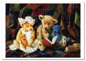 TEDDY BEAR TOY Family read BOOK Funny by Sherwood Russian Modern Postcard