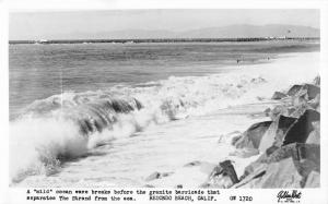 Redondo Beach California Rocky Shore Beach Real Photo Antique Postcard K29992