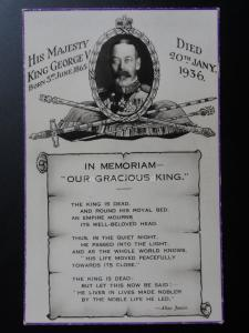 In Memoriam OUR GRACIOUS KING His Majesty King George V. Died 20th Jan 1936 RP
