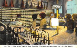 Easton PA Keller & Son Edison & Victor Machines & Records Temple Music Postcard