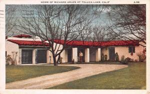 Home of Richard Arlen, Toluca Lake, California, Early Postcard, Used in 1930