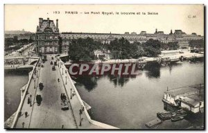 Paris Old Postcard The Royal bridge the Louvre and the Seine